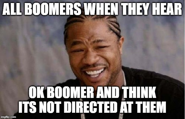 Yo Dawg Heard You Meme | ALL BOOMERS WHEN THEY HEAR OK BOOMER AND THINK ITS NOT DIRECTED AT THEM | image tagged in memes,yo dawg heard you | made w/ Imgflip meme maker