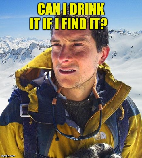 Bear Grylls Meme | CAN I DRINK IT IF I FIND IT? | image tagged in memes,bear grylls | made w/ Imgflip meme maker