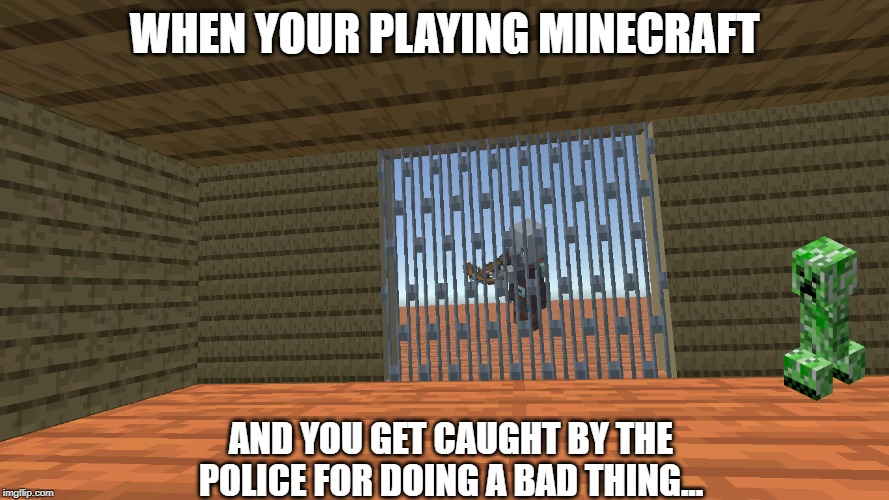 When Your Playing Minecraft... | WHEN YOUR PLAYING MINECRAFT AND YOU GET CAUGHT BY THE POLICE FOR DOING A BAD THING... | image tagged in minecraft jail template,minecraft,jail,meme | made w/ Imgflip meme maker