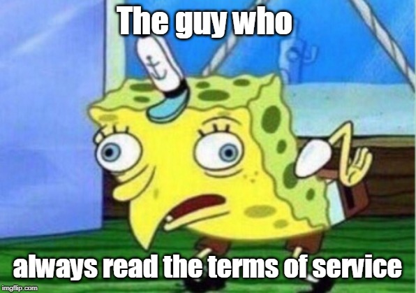 Mocking Spongebob Meme | The guy who always read the terms of service | image tagged in memes,mocking spongebob | made w/ Imgflip meme maker