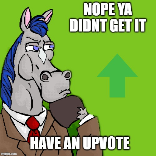 horse | NOPE YA DIDNT GET IT HAVE AN UPVOTE | image tagged in horse | made w/ Imgflip meme maker