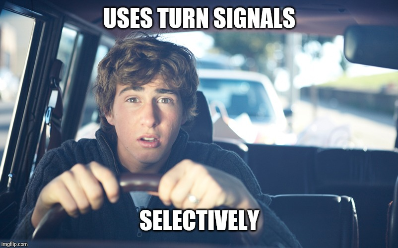 Perpetually Confused Driver | USES TURN SIGNALS SELECTIVELY | image tagged in perpetually confused driver,stupid drivers,bad drivers,cars,drivers | made w/ Imgflip meme maker
