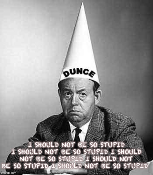 Dunce | I SHOULD NOT BE SO STUPID I SHOULD NOT BE SO STUPID I SHOULD NOT BE SO STUPID I SHOULD NOT BE SO STUPID I SHOULD NOT BE SO STUPID | image tagged in dunce | made w/ Imgflip meme maker