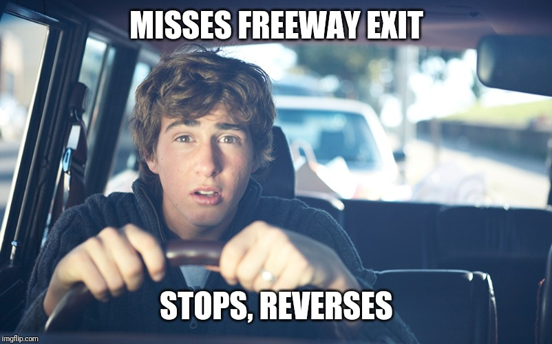 Perpetually Confused Driver | MISSES FREEWAY EXIT STOPS, REVERSES | image tagged in perpetually confused driver,stupid drivers,bad drivers,drivers,freeway | made w/ Imgflip meme maker