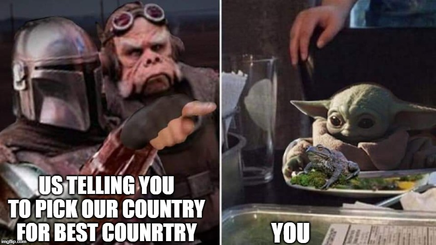 Mando, Yoda baby | US TELLING YOU TO PICK OUR COUNTRY FOR BEST COUNRTRY YOU | image tagged in mando yoda baby | made w/ Imgflip meme maker