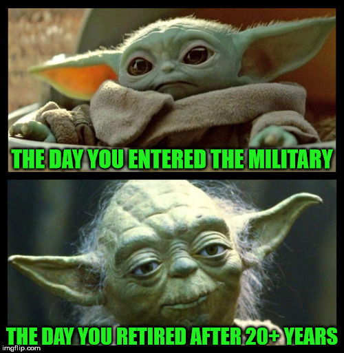 Baby Yoda Aging | THE DAY YOU ENTERED THE MILITARY THE DAY YOU RETIRED AFTER 20+ YEARS | image tagged in baby yoda,memes,military humor,retirement,aint nobody got time for that,what if i told you | made w/ Imgflip meme maker