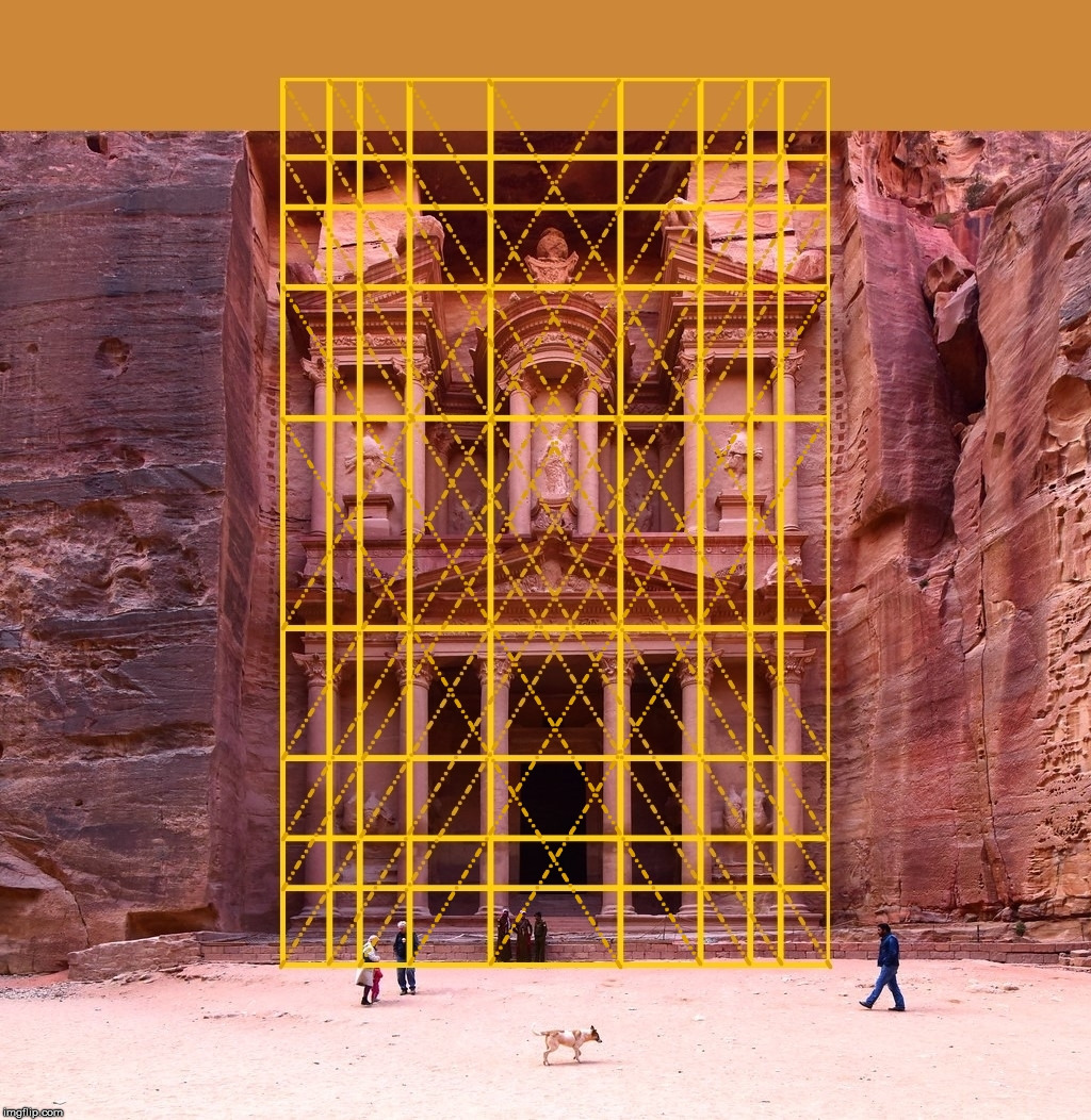 Al-Khazneh with a Golden Ratio overlay.  Seems there are many connections. | image tagged in the golden ratio,architecture,geometry,al-khazneh,petra,jordan | made w/ Imgflip meme maker