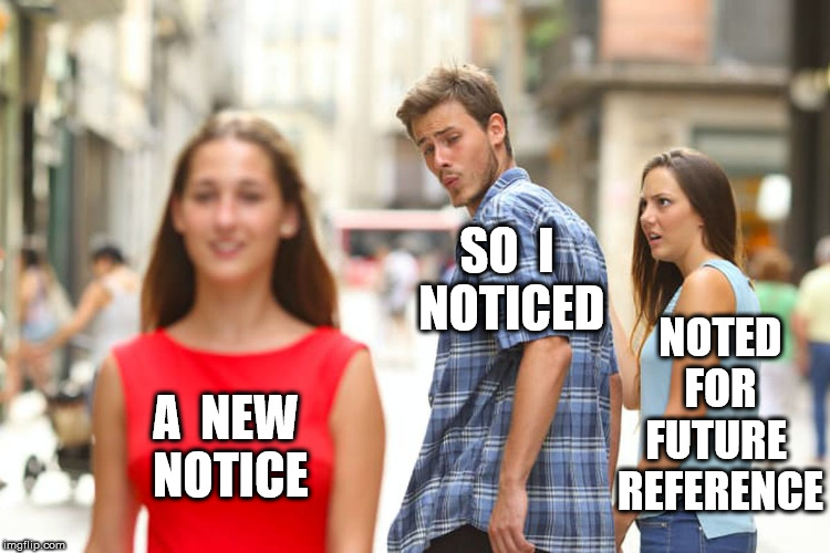 Distracted Boyfriend Meme | A  NEW  NOTICE SO  I  NOTICED NOTED  FOR  FUTURE  REFERENCE | image tagged in memes,distracted boyfriend | made w/ Imgflip meme maker