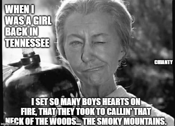 Girl | WHEN I WAS A GIRL  BACK IN  TENNESSEE I SET SO MANY BOYS HEARTS ON FIRE, THAT THEY TOOK TO CALLIN' THAT NECK OF THE WOODS... THE SMOKY MOUNT | image tagged in granny clampett | made w/ Imgflip meme maker