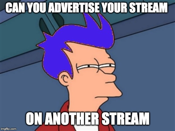Blue Futurama Fry | CAN YOU ADVERTISE YOUR STREAM ON ANOTHER STREAM | image tagged in memes,blue futurama fry | made w/ Imgflip meme maker