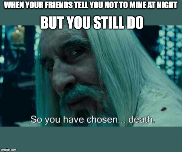 So you have chosen death | WHEN YOUR FRIENDS TELL YOU NOT TO MINE AT NIGHT BUT YOU STILL DO | image tagged in so you have chosen death | made w/ Imgflip meme maker