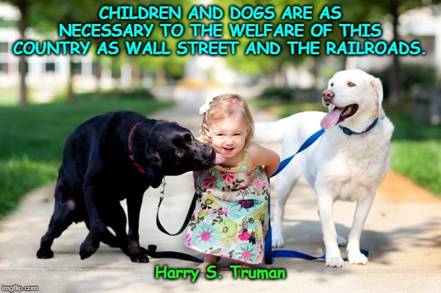CHILDREN AND DOGS ARE AS NECESSARY TO THE WELFARE OF THIS COUNTRY AS WALL STREET AND THE RAILROADS. Harry S. Truman | image tagged in kids and labradors | made w/ Imgflip meme maker