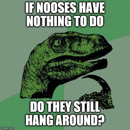 Still time in this Dark Humor Weekend. 11-29 to 12-1 | IF NOOSES HAVE NOTHING TO DO DO THEY STILL HANG AROUND? | image tagged in memes,philosoraptor,dark humor,hanging,noose | made w/ Imgflip meme maker