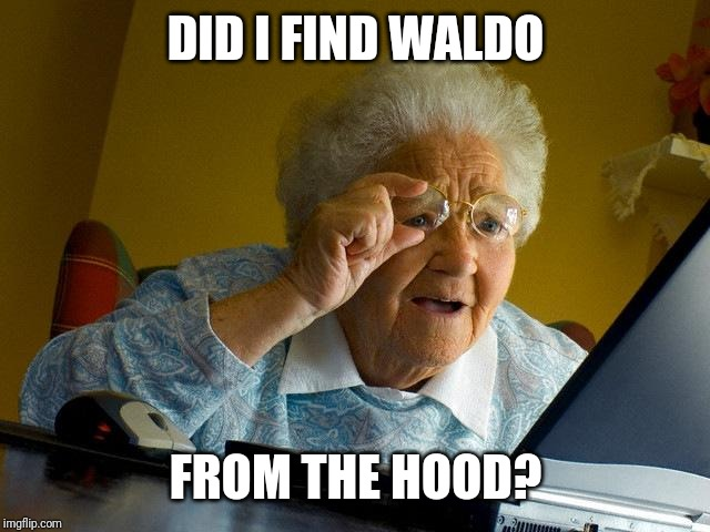 Grandma Finds The Internet Meme | DID I FIND WALDO FROM THE HOOD? | image tagged in memes,grandma finds the internet | made w/ Imgflip meme maker