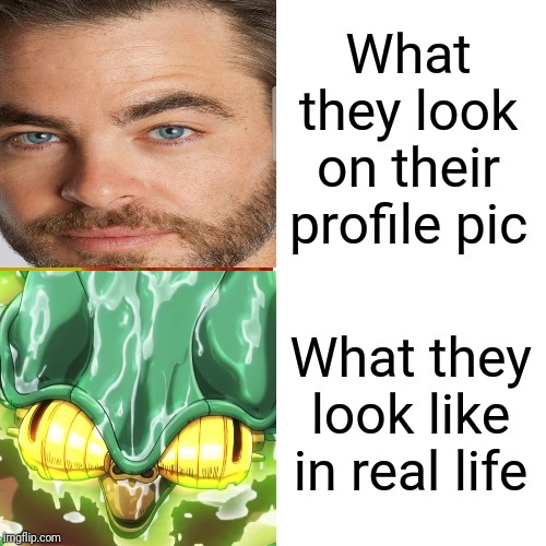 What they look on their profile pic What they look like in real life | image tagged in jojo's bizarre adventure,profile picture,funny,memes | made w/ Imgflip meme maker