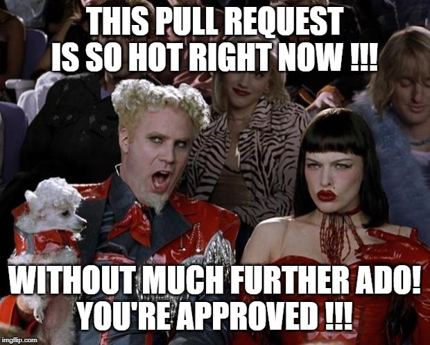 Mugatu So Hot Right Now | THIS PULL REQUEST IS SO HOT RIGHT NOW !!! WITHOUT MUCH FURTHER ADO! YOU'RE APPROVED !!! | image tagged in memes,mugatu so hot right now,approves | made w/ Imgflip meme maker