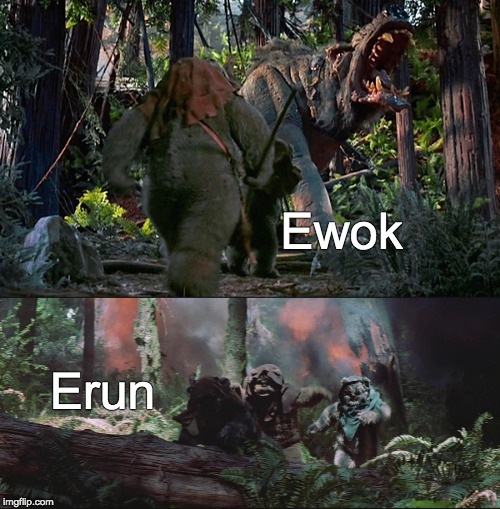 he really be wokin |  Ewok; Erun | image tagged in star wars | made w/ Imgflip meme maker