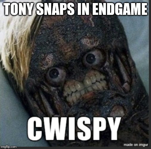 TONY SNAPS IN ENDGAME | image tagged in cwispy,avengers,avengers endgame | made w/ Imgflip meme maker
