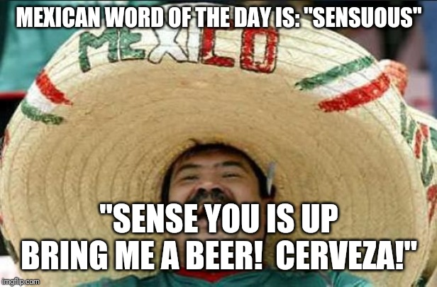 "mexican word of the day | MEXICAN WORD OF THE DAY IS: ""SENSUOUS"" ""SENSE YOU IS UP BRING ME A BEER!  CERVEZA!"" 