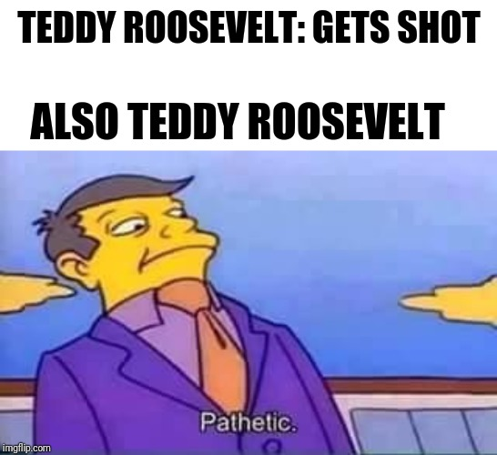 TEDDY ROOSEVELT: GETS SHOT; ALSO TEDDY ROOSEVELT | image tagged in skinner pathetic | made w/ Imgflip meme maker