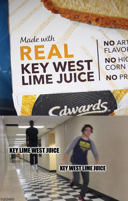 Pie Labels Confuse Me | KEY WEST LIME JUICE KEY LIME WEST JUICE | image tagged in meme,funny,floating boy chasing running boy,pie,labels | made w/ Imgflip meme maker