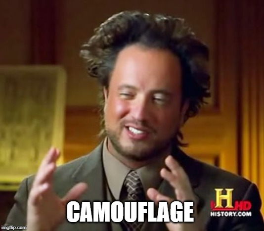 Ancient Aliens Meme | CAMOUFLAGE | image tagged in memes,ancient aliens | made w/ Imgflip meme maker