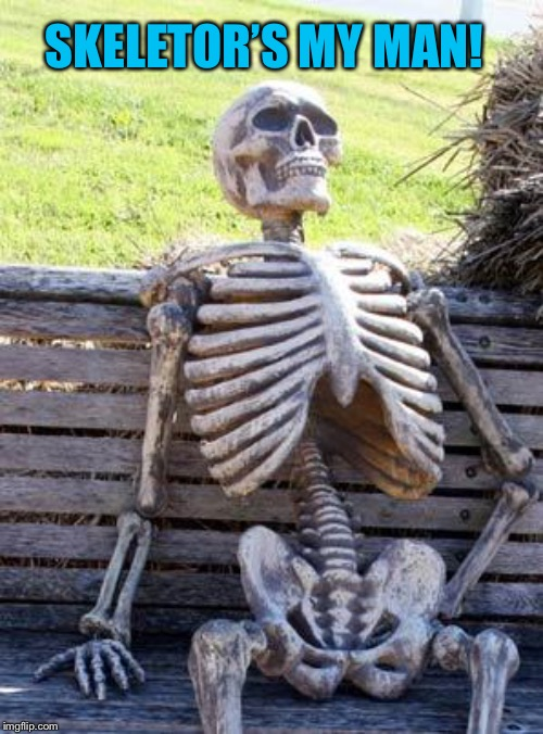 Waiting Skeleton Meme | SKELETOR'S MY MAN! | image tagged in memes,waiting skeleton | made w/ Imgflip meme maker