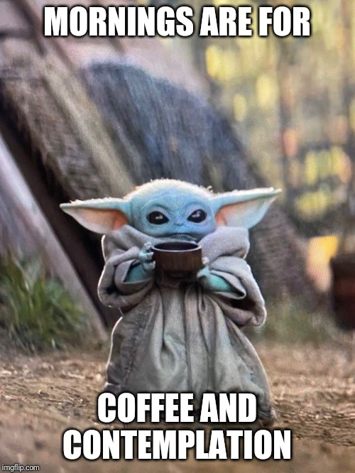 BABY YODA TEA | MORNINGS ARE FOR COFFEE AND CONTEMPLATION | image tagged in baby yoda tea | made w/ Imgflip meme maker