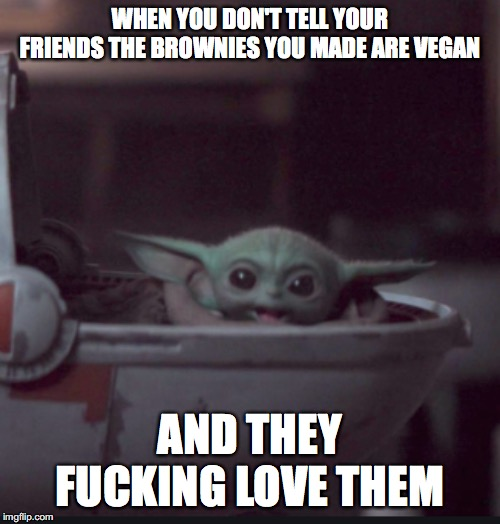 WHEN YOU DON'T TELL YOUR FRIENDS THE BROWNIES YOU MADE ARE VEGAN AND THEY F**KING LOVE THEM | image tagged in baby yoda,vegan,veganism,food,vegan logic | made w/ Imgflip meme maker