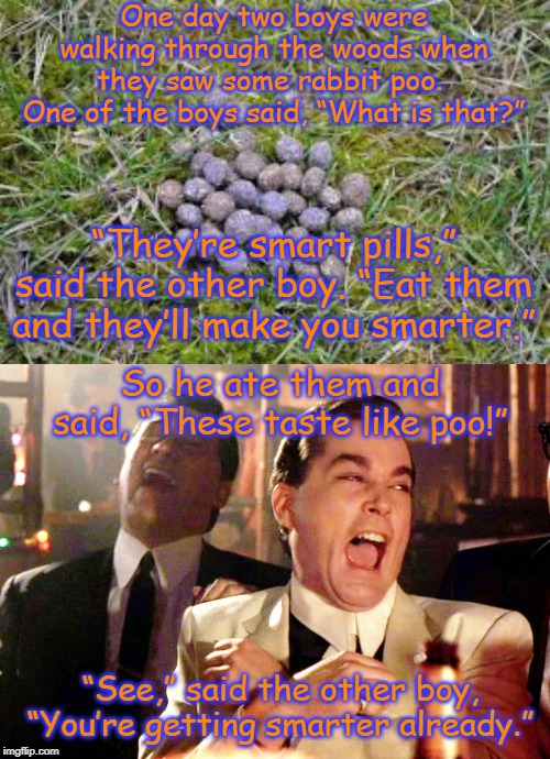 "Get smarter | One day two boys were walking through the woods when they saw some rabbit poo. One of the boys said, ""What is that?"" ""They're smart pills,"" 