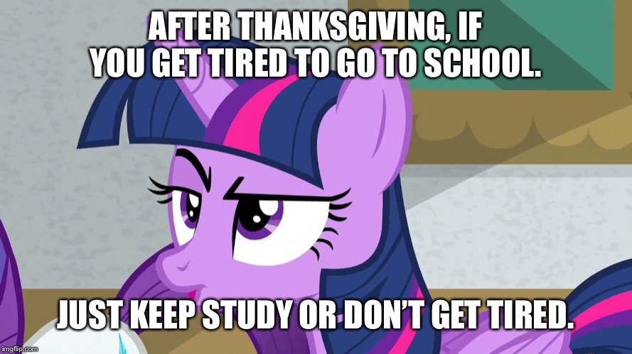 Getting bored again in school | AFTER THANKSGIVING, IF YOU GET TIRED TO GO TO SCHOOL. JUST KEEP STUDY OR DON'T GET TIRED. | image tagged in twilight sparkle,school,thanksgiving | made w/ Imgflip meme maker
