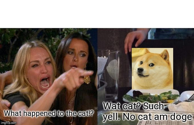 Woman yelling at Doge | What happened to the cat!? Wat cat? Such yell. No cat am doge | image tagged in memes,woman yelling at cat,doge | made w/ Imgflip meme maker