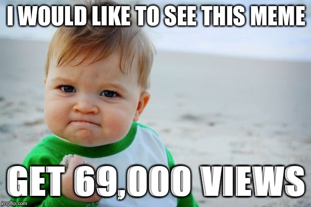 69,000 view challenge | I WOULD LIKE TO SEE THIS MEME GET 69,000 VIEWS | image tagged in memes,success kid original,69challenge,funny | made w/ Imgflip meme maker