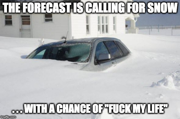 "Fucked Forecast | THE FORECAST IS CALLING FOR SNOW . . . WITH A CHANCE OF ""F**K MY LIFE"" 
