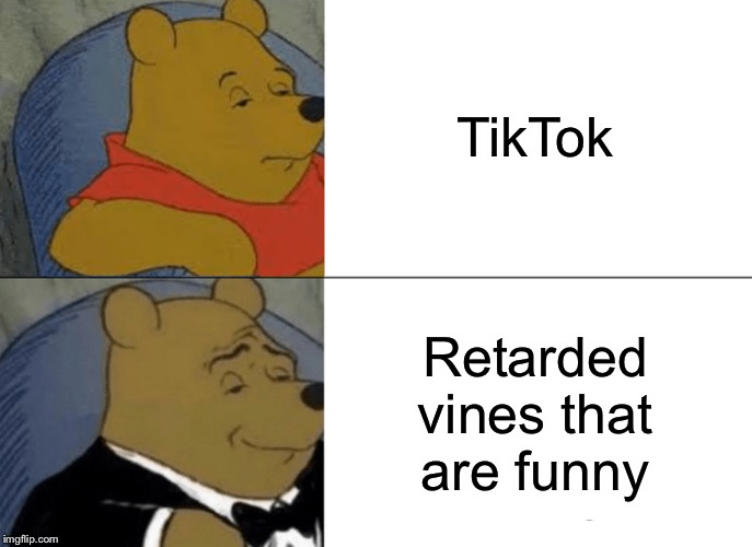 TikTok Winnie the Pooh | TikTok Retarded vines that are funny | image tagged in memes,tuxedo winnie the pooh,tik tok | made w/ Imgflip meme maker