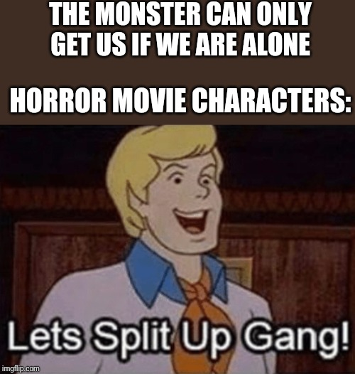 Let's split up hang! | THE MONSTER CAN ONLY GET US IF WE ARE ALONE HORROR MOVIE CHARACTERS: | image tagged in lets split up hang,memes | made w/ Imgflip meme maker