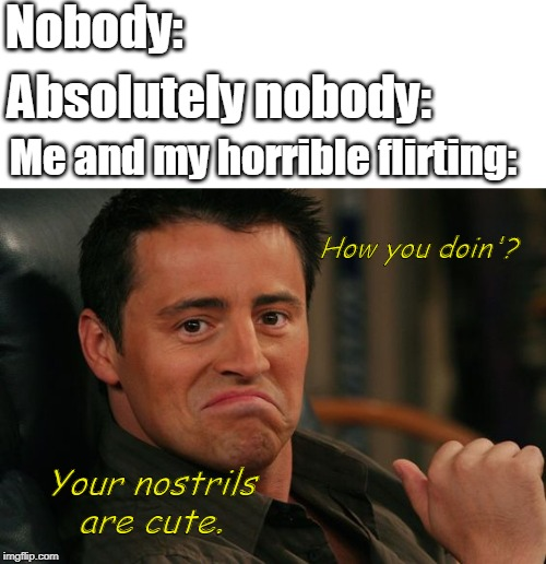 Nobody: Absolutely nobody: Me and my horrible flirting: How you doin'? Your nostrils are cute. | image tagged in proud joey | made w/ Imgflip meme maker