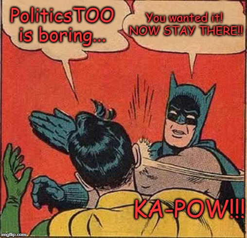 I mean, y'all said the Politics stream was too right-leaning and mean and all, hence PoliticsTOO. | PoliticsTOO is boring... You wanted it!  NOW STAY THERE!! KA-POW!!! | image tagged in memes,batman slapping robin | made w/ Imgflip meme maker