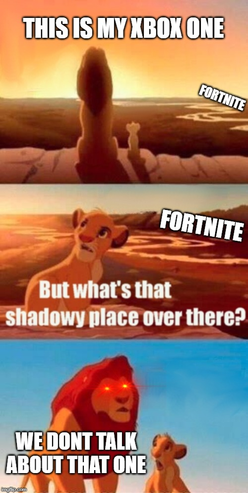 Simba Shadowy Place Meme | THIS IS MY XBOX ONE WE DONT TALK ABOUT THAT ONE FORTNITE FORTNITE | image tagged in memes,simba shadowy place | made w/ Imgflip meme maker