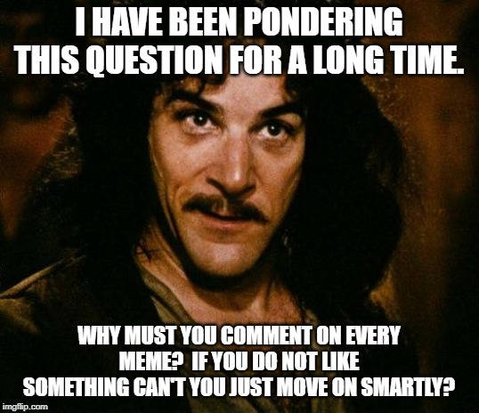 Inigo Montoya | I HAVE BEEN PONDERING THIS QUESTION FOR A LONG TIME. WHY MUST YOU COMMENT ON EVERY MEME?  IF YOU DO NOT LIKE SOMETHING CAN'T YOU JUST MOVE O | image tagged in memes,inigo montoya | made w/ Imgflip meme maker