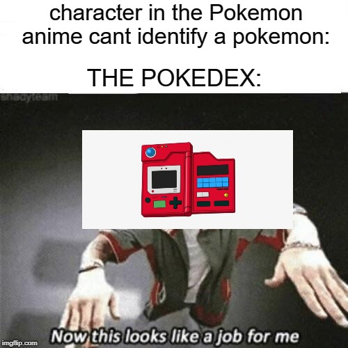 Now this looks like a job for me | character in the Pokemon anime cant identify a pokemon: THE POKEDEX: | image tagged in now this looks like a job for me | made w/ Imgflip meme maker