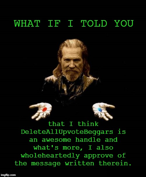 The Dude as Morpheus | WHAT IF I TOLD YOU that I think DeleteAllUpvoteBeggars is an awesome handle and what's more, I also wholeheartedly approve of the message wr | image tagged in the dude as morpheus | made w/ Imgflip meme maker