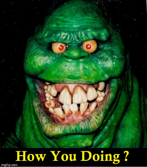 How You Doing? | image tagged in slimer,ghost busters,joey,friends | made w/ Imgflip meme maker