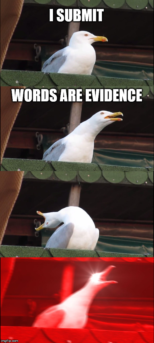Inhaling Seagull Meme | I SUBMIT WORDS ARE EVIDENCE | image tagged in memes,inhaling seagull | made w/ Imgflip meme maker