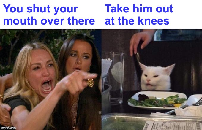 Woman Yelling At Cat Meme | You shut your mouth over there Take him out at the knees | image tagged in memes,woman yelling at cat | made w/ Imgflip meme maker
