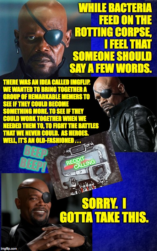 Ashes to ashes. | WHILE BACTERIAFEED ON THEROTTING CORPSE, I FEEL THAT SOMEONE SHOULD SAY A FEW WORDS. SORRY.  I GOTTA TAKE THIS. THERE WAS AN IDEA CALLED I | image tagged in memes,nick fury,eulogy,imgflip,ashes to ashes | made w/ Imgflip meme maker