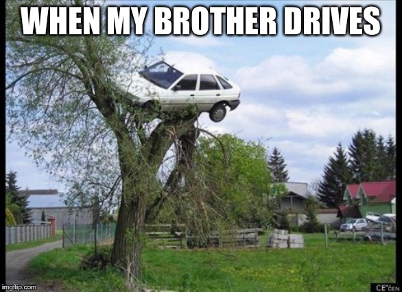 Secure Parking Meme | WHEN MY BROTHER DRIVES | image tagged in memes,secure parking | made w/ Imgflip meme maker