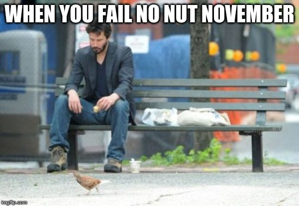 Sad Keanu Meme | WHEN YOU FAIL NO NUT NOVEMBER | image tagged in memes,sad keanu | made w/ Imgflip meme maker