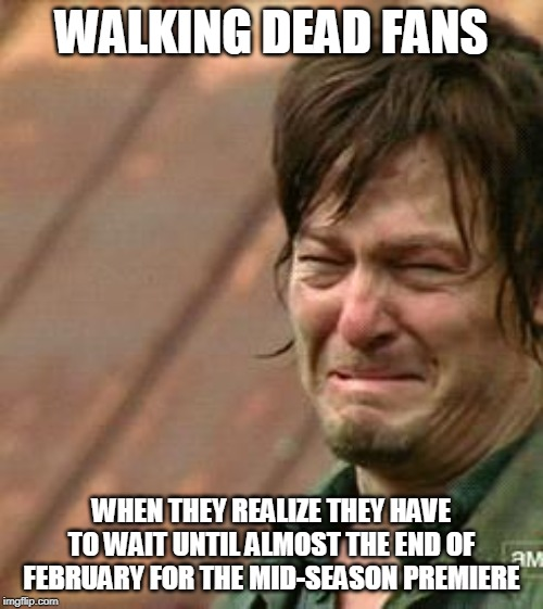 Daryl Walking dead | WALKING DEAD FANS WHEN THEY REALIZE THEY HAVE TO WAIT UNTIL ALMOST THE END OF FEBRUARY FOR THE MID-SEASON PREMIERE | image tagged in daryl walking dead | made w/ Imgflip meme maker