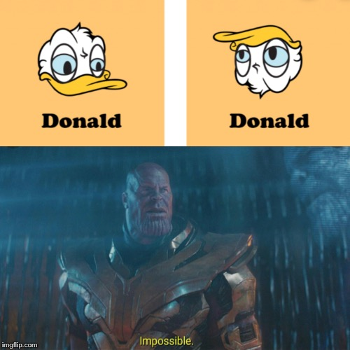 Oof | image tagged in thanos,donald duck,some random meme | made w/ Imgflip meme maker